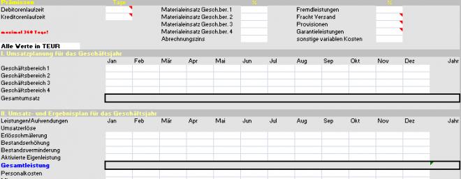 Finanzplanung: Gewinn- und Verlustrechung GuV