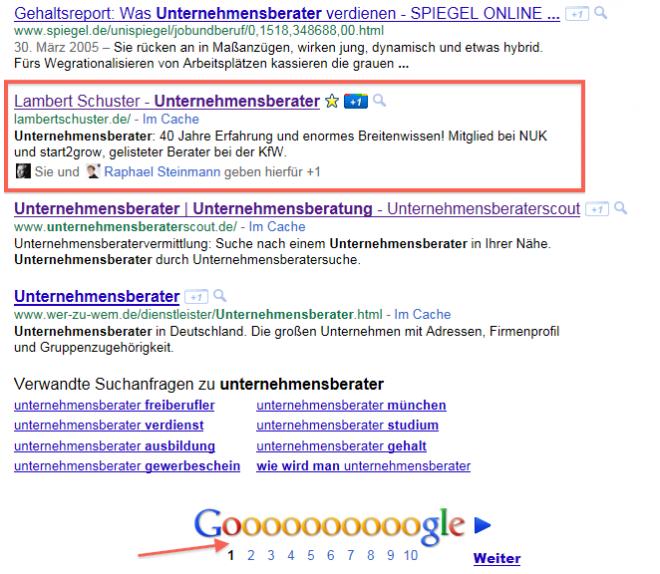 """Gute Positionierung mit dem Keyword """"Unternehmensberater"""" bei Google"""