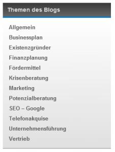 Kategorien - Themen des Blog