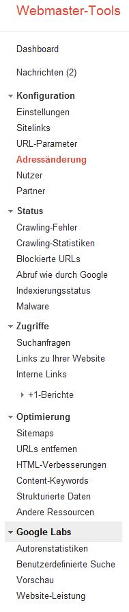 Google Webmaster Tools mit lambertschuster.de
