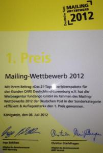 1. Preis zum Deutsche Post Mailing Wettbewerb