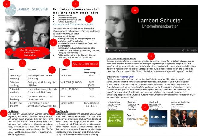 Landingpage am Beispiel Lambert Schuster für das Inbound-Marketing