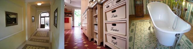 Trio Eingang, Laden und Bad mit Zemenfliesen von casa:1
