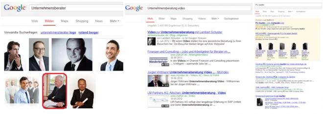 Inbound-Marketing über Google mit Bilder Video und Shopping