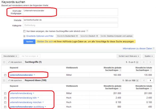 """Keyword-Tool von Google zum Begriff """"Unternehmensberater"""""""