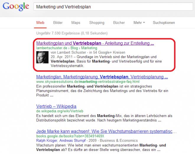 Marketing- und Vertriebsplan bei den Suchergebnissen im redaktionellen Teil von Google