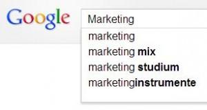 Suche nach der Stichwortsuche mit Suchvorschlägen bei Google