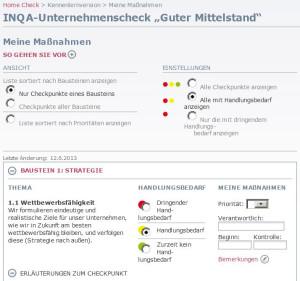 Massnahmen zum INQA-Unternehmenscheck
