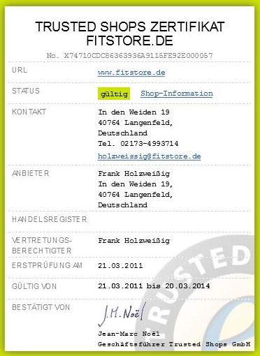 fitstore Trusted Shops Zertifikat