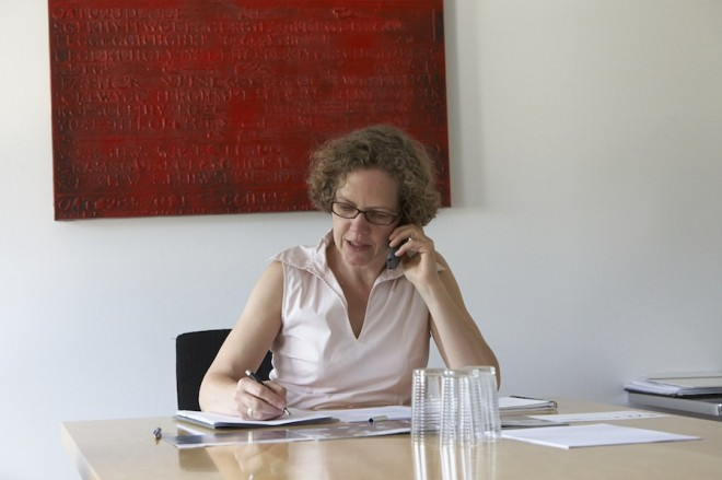 Textberaterin Silke Wiegand bei der Telefonakquise
