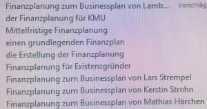 """Suchphrasen zum Suchbegriff """"Finanzplanung"""" in der Wissensdatenbank"""