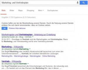 Mit dem Keyword Marketing- und Vertriebsplan bei Google auf Platz 1