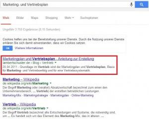 Marketing- und Vertriebsplan mit Suchmaschinenoptimierung bei Google auf Platz 1