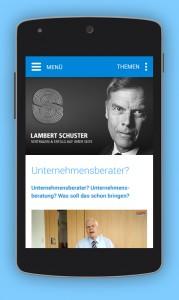 Responsive Webdesign für das Smartphone auf der Website von LambertSchuster
