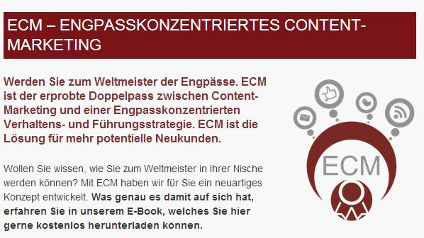 ECM-Engpasskonzentriertes Content Marketing von SENSsational Marketing