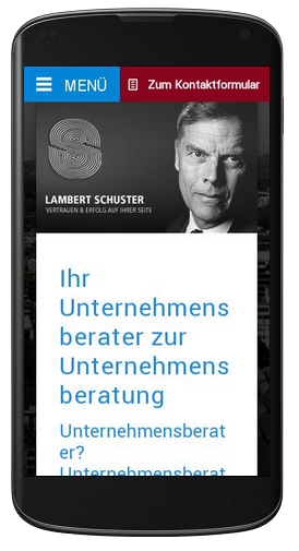 Wie sich die Webseite lambertschuster.de responsive an das Endgerät (hier ein Smart-Phone) anpasst.