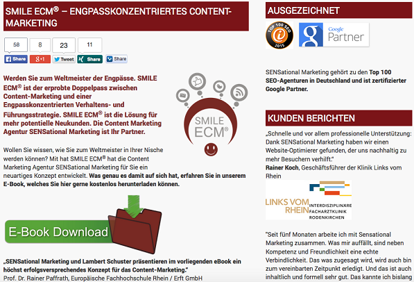 Landingpage zu SMILE ECM® – ENGPASSKONZENTRIERTES CONTENT-MARKETING