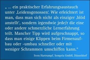 """Zitat zum Netzwerktreffen """"Runder Tisch Lambert Schuster"""" von Herrn Dr. Sven Hartrumpf, Sempria GmbH, Düsseldorf"""