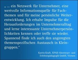 Zitat zum Netzwerktreffen von Katrin Kraft, XPAD Abenteuer- und Erlebnispädagogik GmbH, Viersen